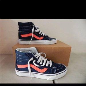 Vans high top unisex sneakers. Navy blue/pink